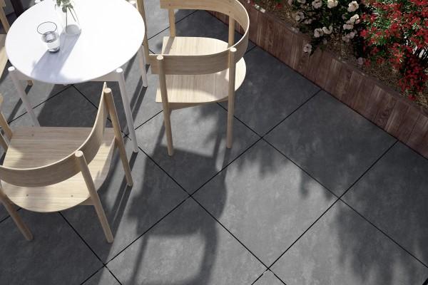 Terrassenplatten Naturstein-Optik Dunkelgrau 60x60x2cm Feinsteinzeug