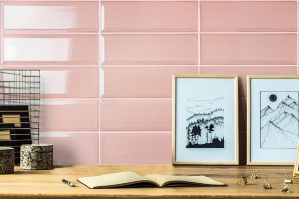 Metro Fliese krakeliert Craquelé Krakelee pastell pink glänzend Facettenfliese Havana