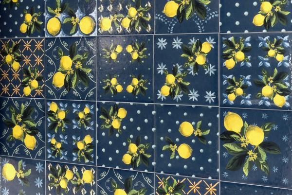 """Fliese Zitronen Retro Dekor blau glänzend glasiert mediterran 20x20 """"Vita Giardino Blu Mix"""" Sant Agostino"""