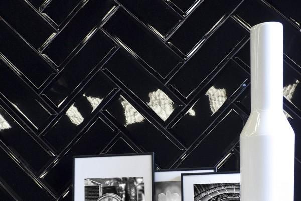 Metro Fliese Facette Bad Küche schwarz glänzend