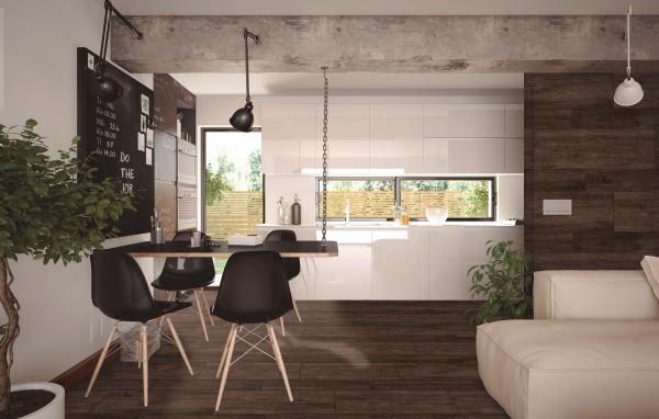 Fliese Holzoptik dunkel Wohnzimmer 30x90 Feinsteinzeug Texas Caoba