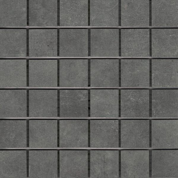 "Mosaik-Fliese Betonoptik schwarz 30x30 Feinsteinzeug ""Patch black"" Ragno by Marazzi"
