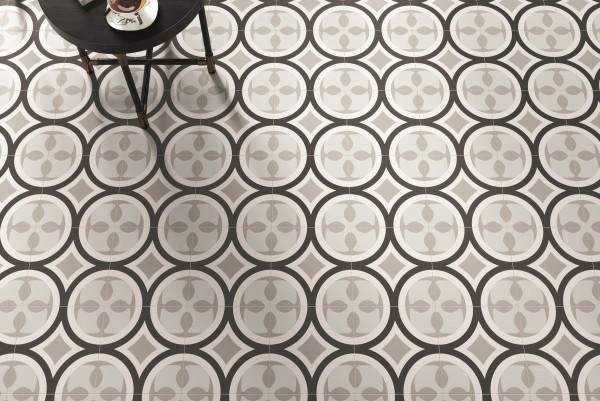 """Dekor-Fliese Patchwork schwarz-weiß Retro 20x20 """"Patchwork Black&White 01"""" Sant Agostino"""