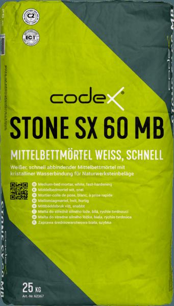 """Fliesenkleber Flexkleber Mittelbettmörtel """"Codex Stone SX 60"""" 25 kg weiß schnell"""
