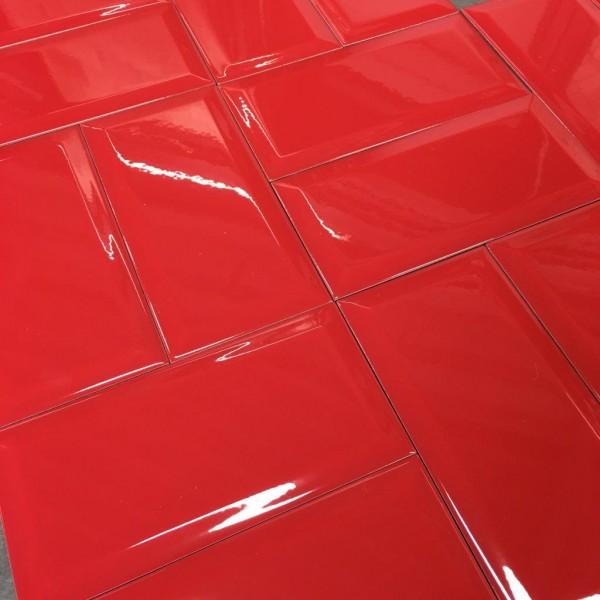 Metro Fliese rot glänzend 10x20 Subway Wandfliese Küche Bad Facettenfliese Fabresa