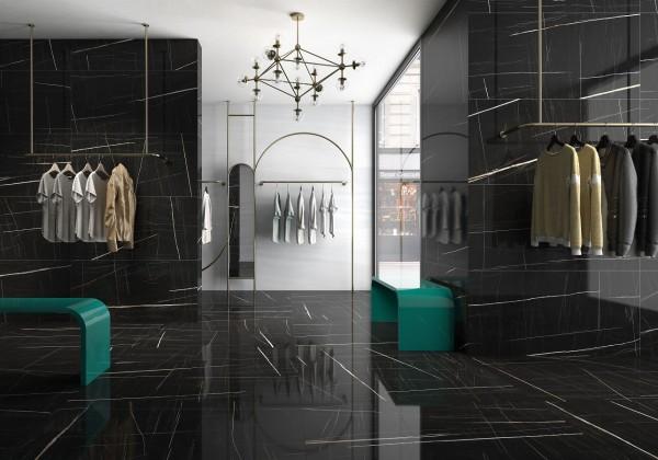 Fliese Marmoroptik schwarz marmoriert glänzend rektifiziert Sahara noir