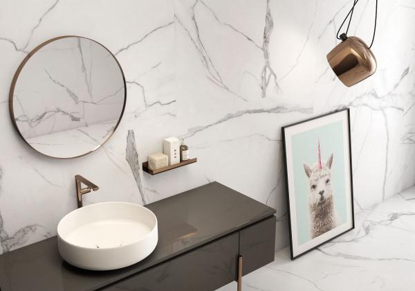 Fliese weiß marmoriert Calacatta-Marmor-Optik seidenmatt kalibriert Nil Blanco