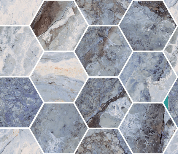 "Mosaik Hexagon Marmor-Optik blau marmoriert glänzend poliert 30x34,5cm ""Mystic Ocean"" Sant Agostino"