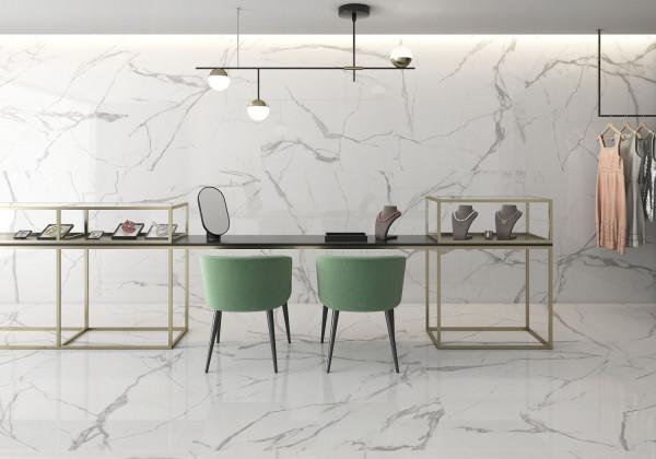Fliese weiß marmoriert Calacatta-Marmor-Optik poliert glänzend kalibriert Nil Blanco