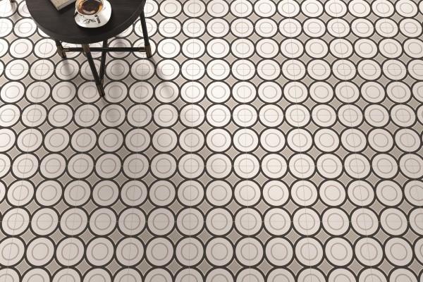 """Dekor-Fliese Patchwork schwarz-weiß Retro 20x20 """"Patchwork Black&White 05"""" Sant Agostino"""