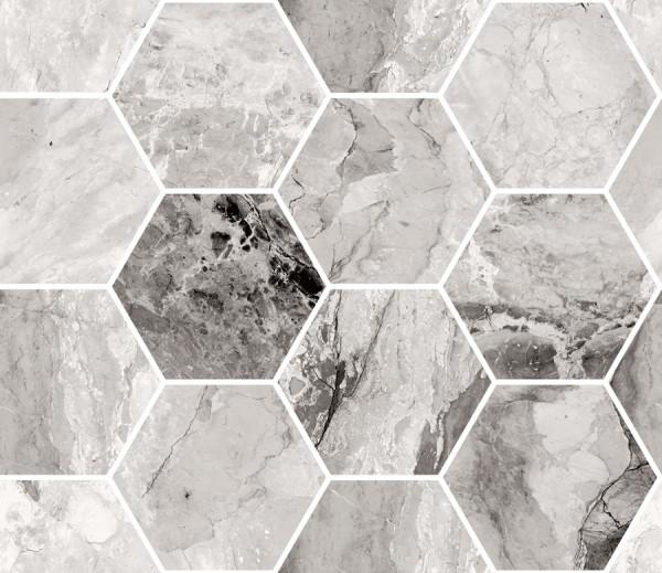 "Mosaik Hexagon Marmor-Optik schwarz marmoriert glänzend poliert 30x34,5cm ""Mystic Dark"" Sant Agostin"