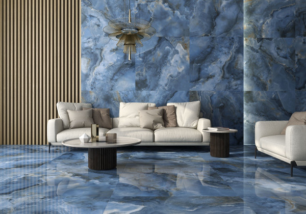 Fliese Achat-Optik blau marmoriert glänzend poliert kalibriert Onix Blue