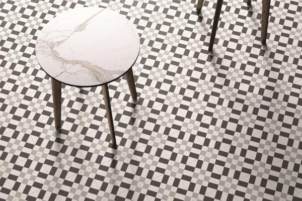 """Dekor-Fliese Patchwork schwarz-weiß Retro 20x20 """"Patchwork Black&White 02"""" Sant Agostino"""