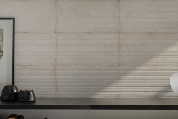 Wandfliese Vintage 3D strukturiert Dekor weiß-beige Mileto marfil matt 31x60